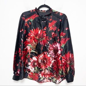 Yaly Couture Black and Red Floral Silk Blouse